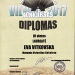 III vietos Diplomas Evai Vitkovskai
