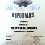 III vietos Diplomas Matui Sabaliauskui